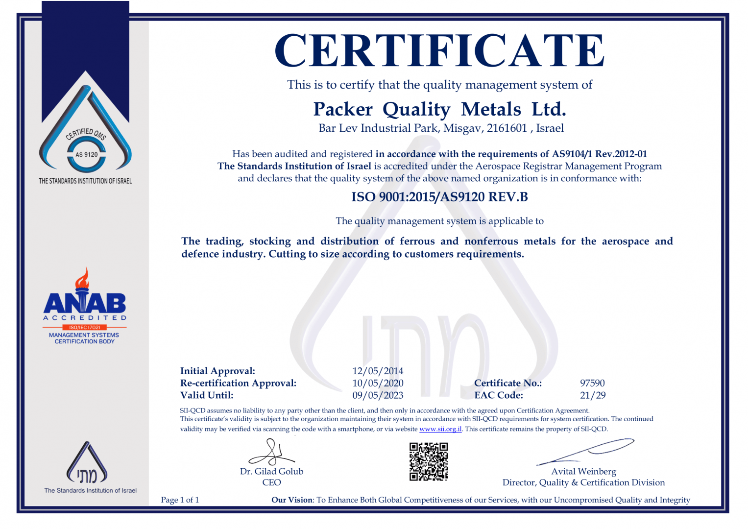 Packer's Metals Quality Certificate